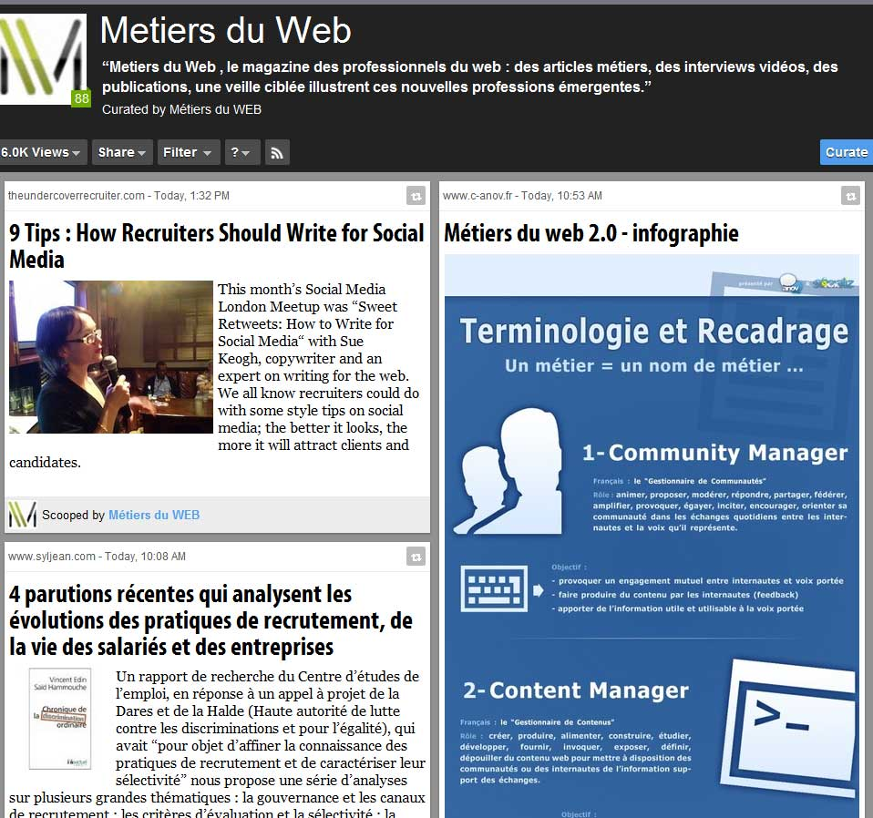 Métiers du Web Scoop.it