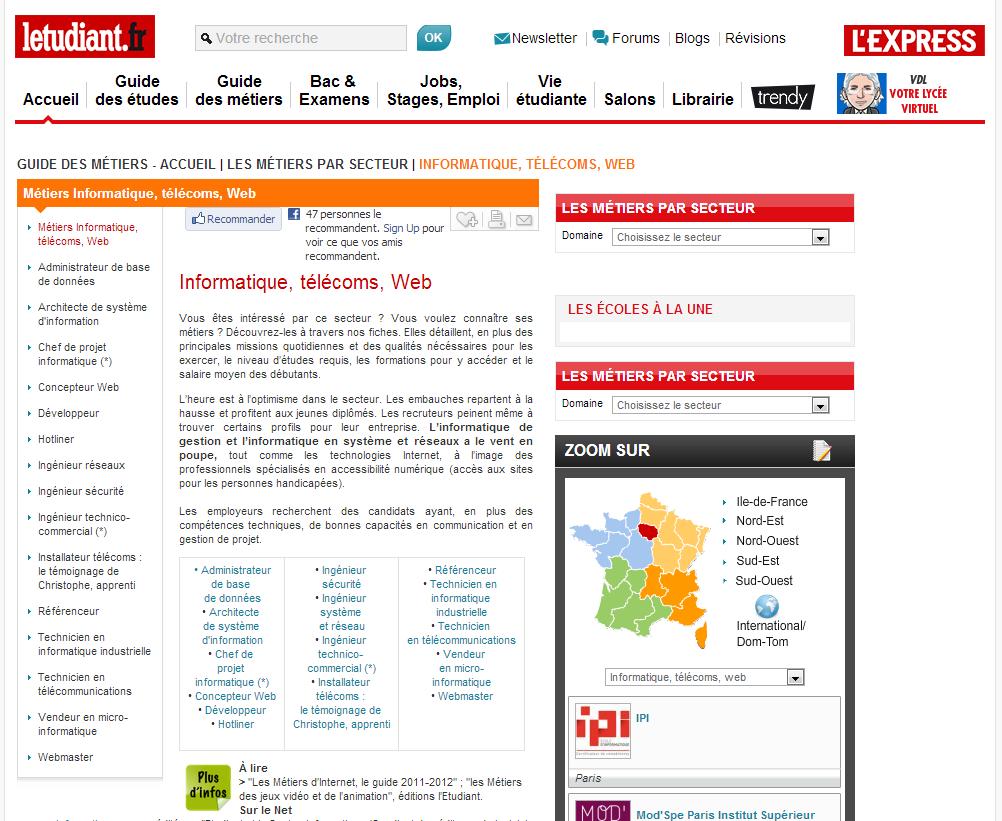 Le site L'Etudiant.fr est dédié aux étudiants